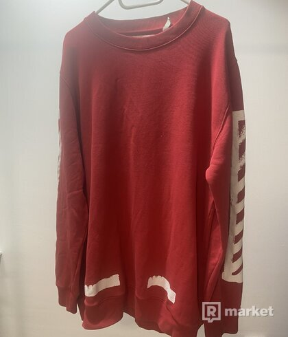 OFF WHITE Red Brushed Diagonals Long Sleeve T-Shirt