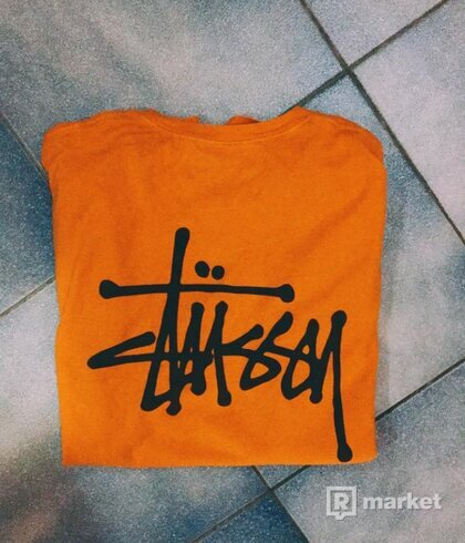 Stussy orange tee basic logo