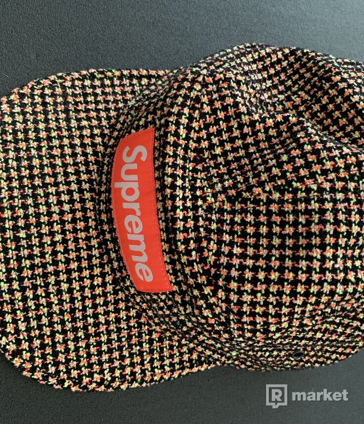 SUPREME Boucle Houndstooth Camp Cap Neon Navy box logo tnf F/W 17