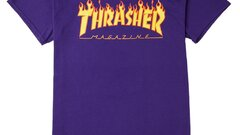 Thrasher tee flame logo purple