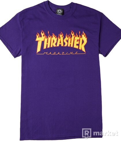 Thrasher tee flame logo purple