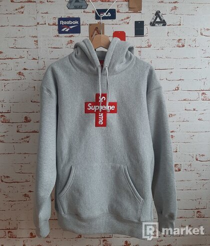 Supreme Cross Box Logo Hoodie Grey