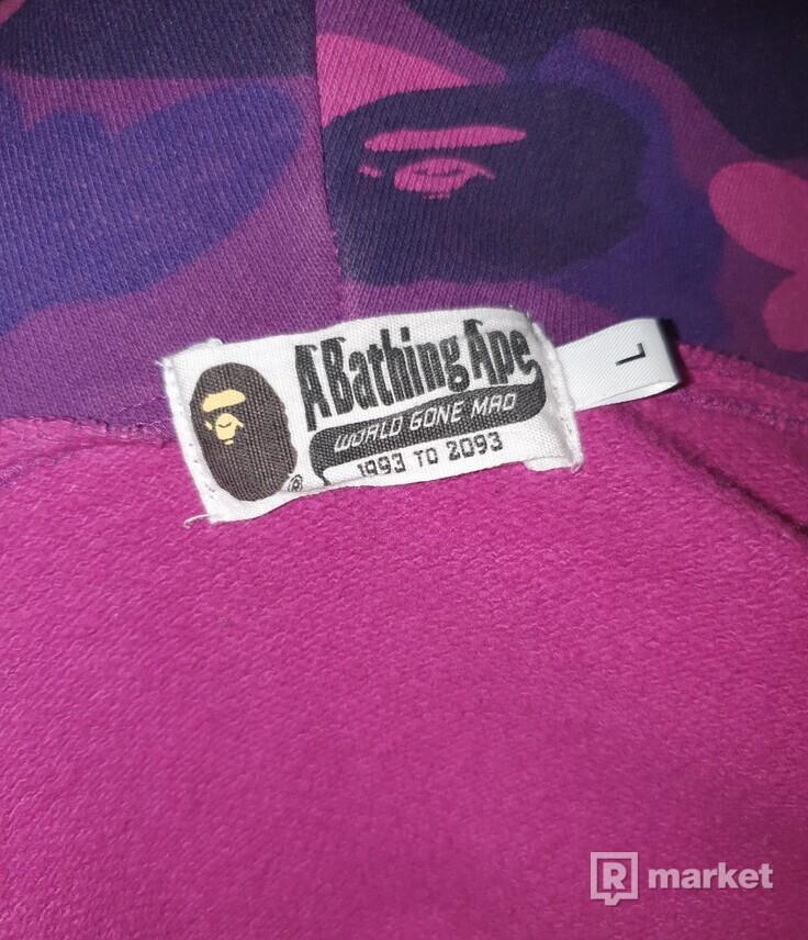 Bape purple camo shark zip OG hoodie