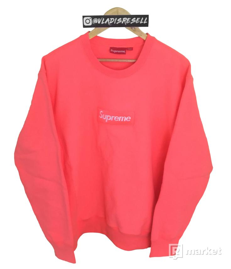 "Supreme FW18 Box Logo ""Bogo"" Crewneck Crewneck Fluorescent Pink"
