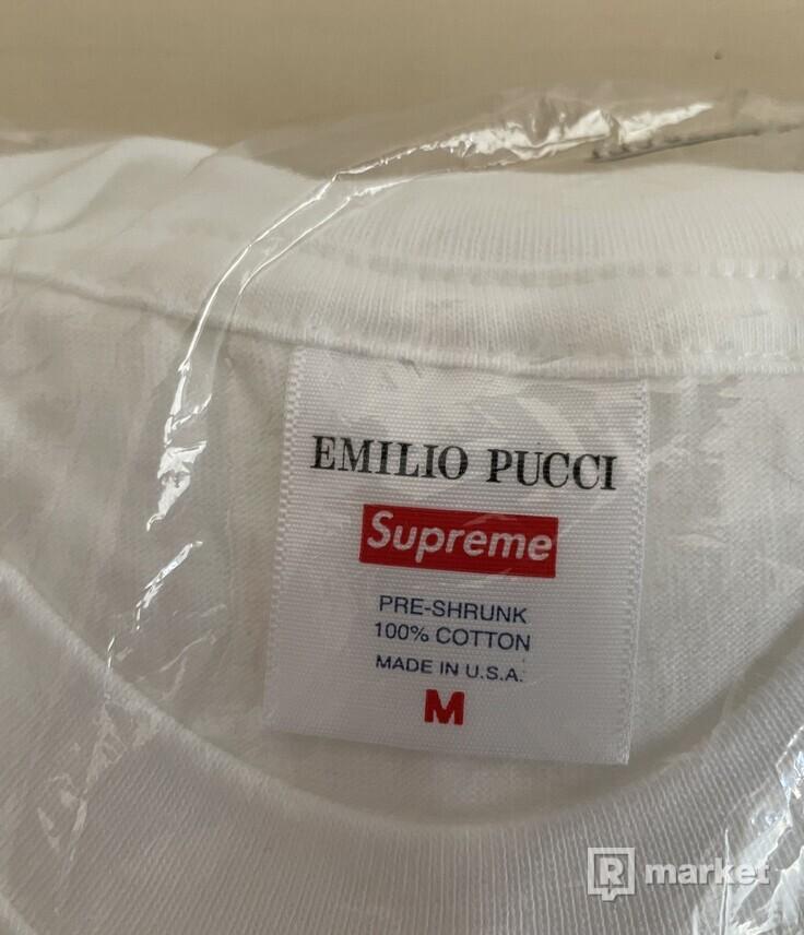 Supreme Emilio Pucci Box Logo Tee White/Blue - M(2x)