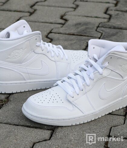 "Nike  Air Jordan 1 Mid ""Triple White"" - US10"
