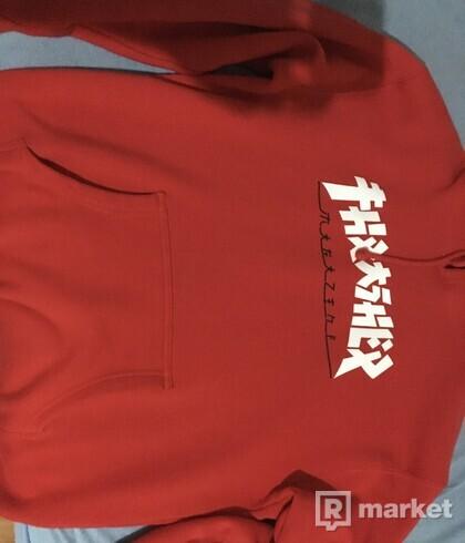 Trasher godzilla red hoodie