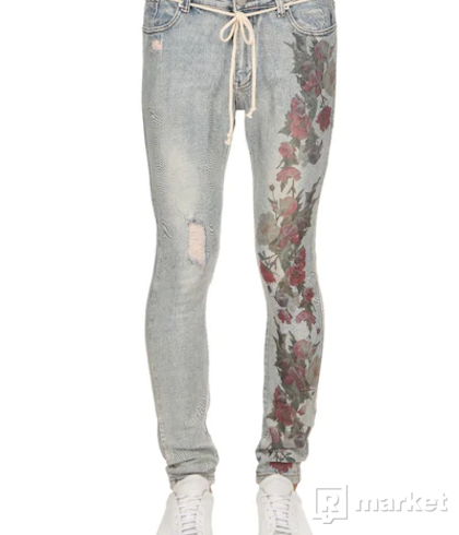 PROFOUND AESTHETIC Hand-Distressed Foral Print Denim Jeans