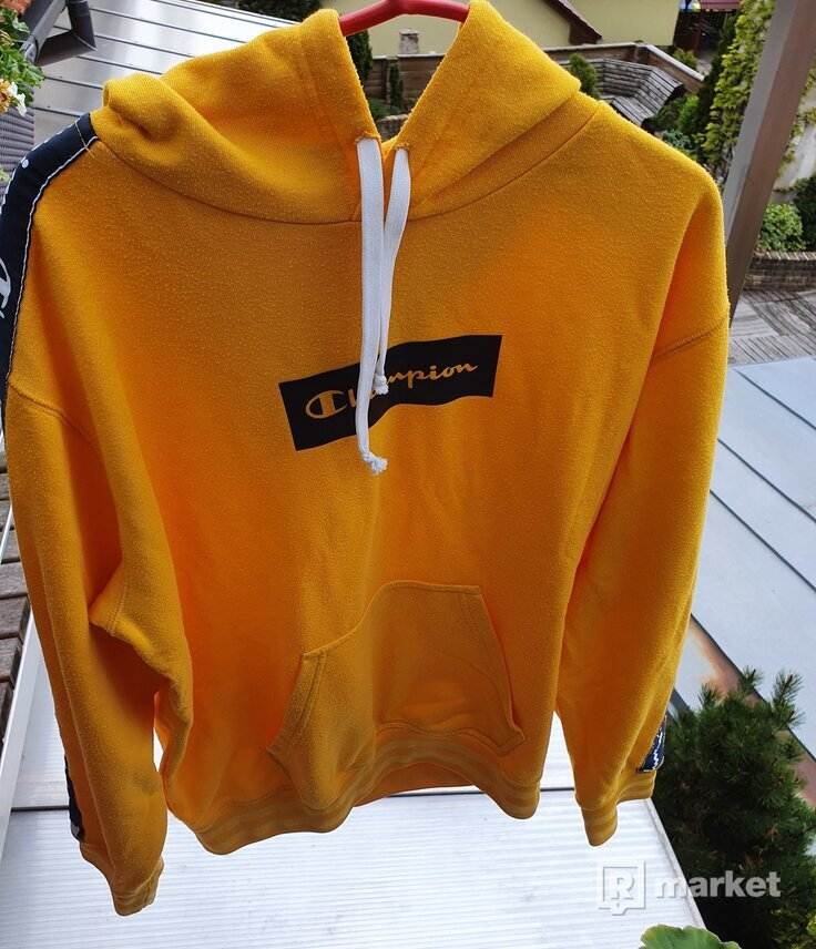Champion yellow tape hoodie