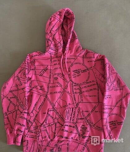 Supreme Gonz Embroidered Map Hooded Sweatshirt Magenta