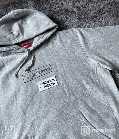 Supreme KAWS Chalk Logo Hooded Sweatshirt Heather Grey
