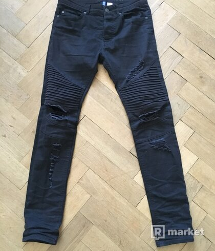 H&M ripped biker skinny jeans