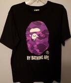 Bape Purple Ape Head Camo Tee