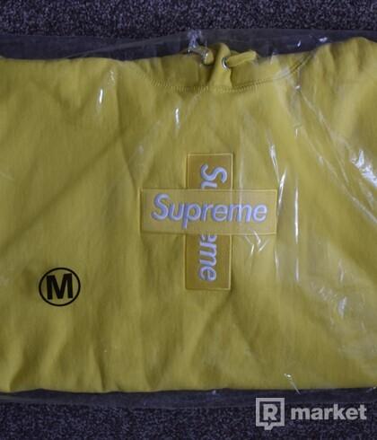 Supreme Cross Box Logo Hoodie Lemon