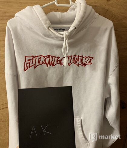 Fucking Awesome hoodie Logo red- white