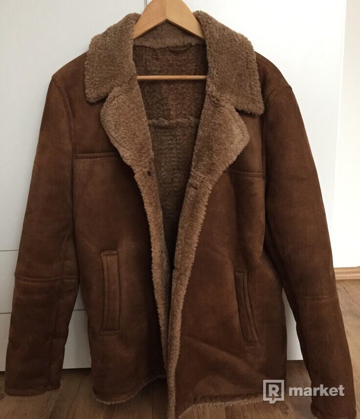Zara hnedý kožušinový kabát