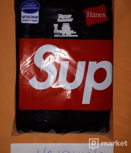 Supreme Hanes Tagless Tee BLACK SIZE MEDIUM