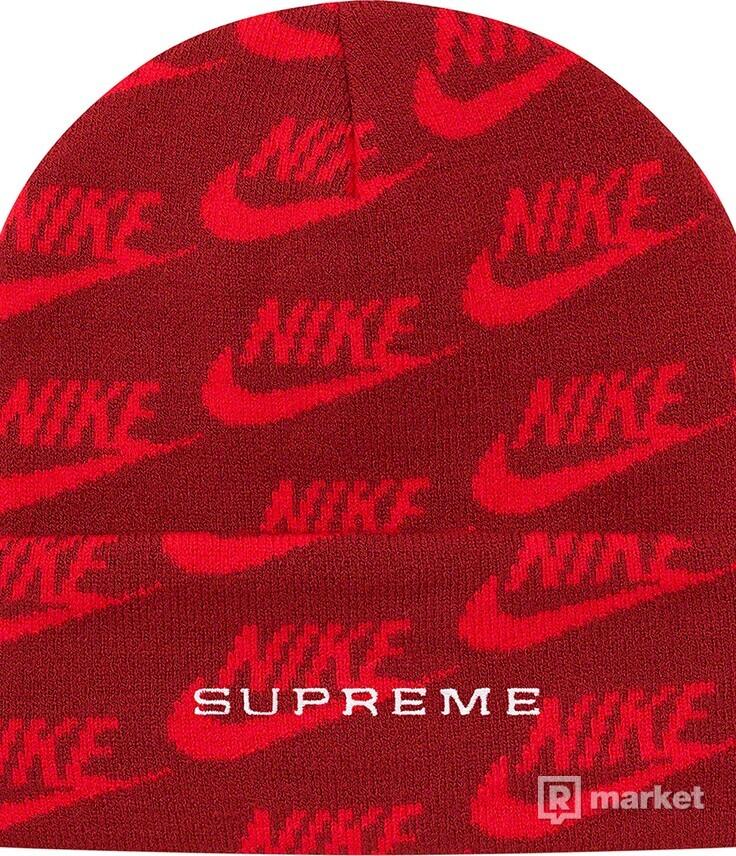 Supreme/Nike Jacquard Logos Beanie Red