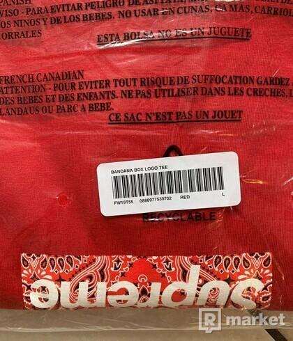 Supreme bandana box logo tshirt red L