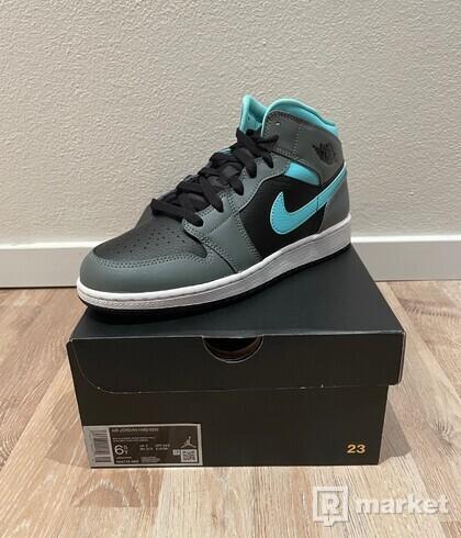 Jordan 1 Mid Grey Aqua (GS)