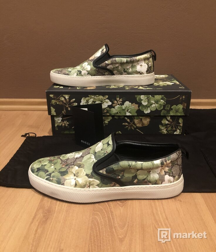 Bloom Flower Print Green GG Supreme Coated Canvas Slip on