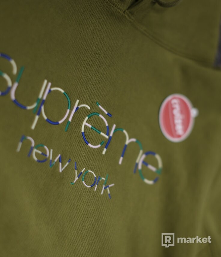 Supreme Multi Color Classic Logo Hoodie Olive
