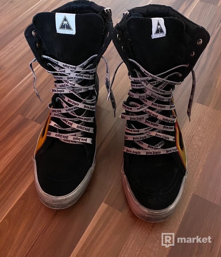 Palm Angels Flame Distressed Canvas High Top Sneakers