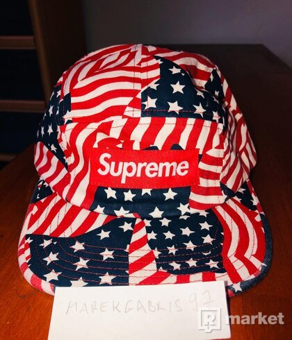 Washed Chino Twill Camp Cap (flags)
