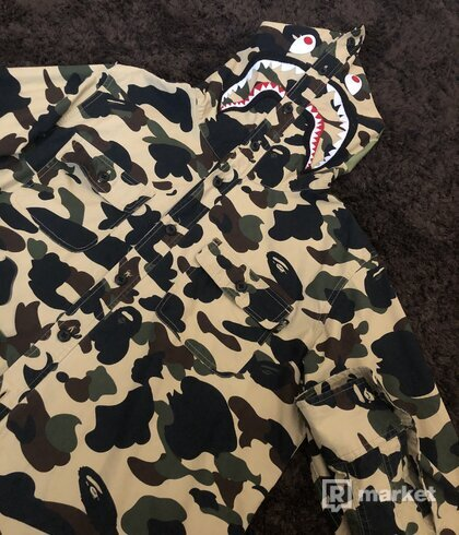 Bape 1st Camo Shark Hoodie Shirt Yellow