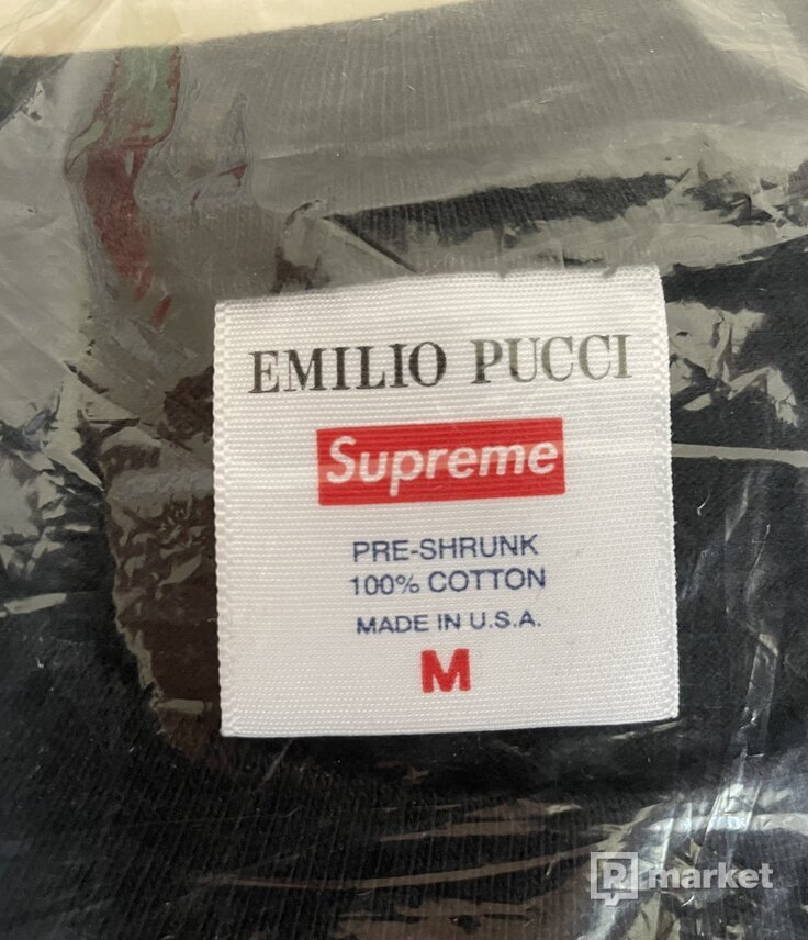 Supreme Emilio Pucci Box Logo Tee Black/Blue - M