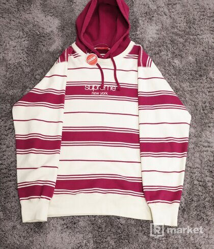 Supreme Striped Pullover Crewneck Magneta