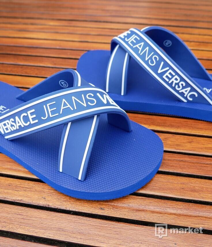 VERSACE JEANS modré šľapky