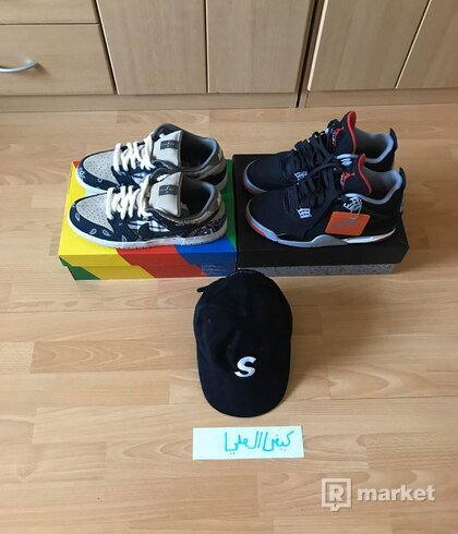 Travis Scott x Nike SB Dunk Low,  Air Jordan 4 Bred, S cap Black Suede 44.5/45
