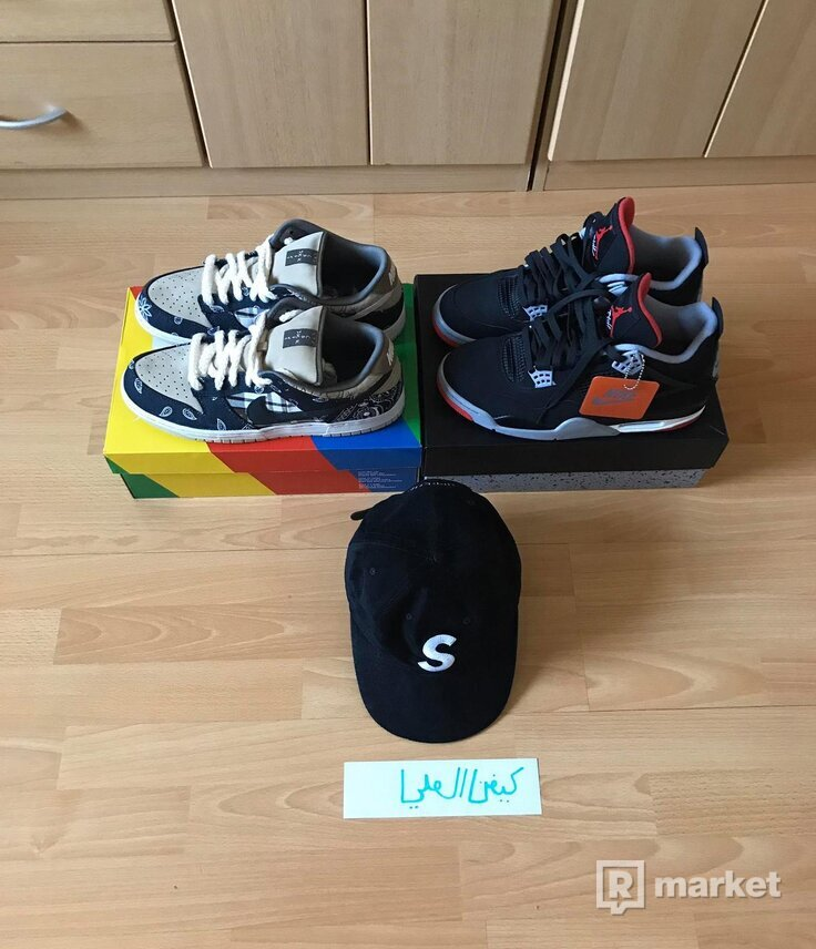 Travis Scott x Nike SB Dunk Low,  Air Jordan 4 Bred, S cap Black Suede 44.5/45