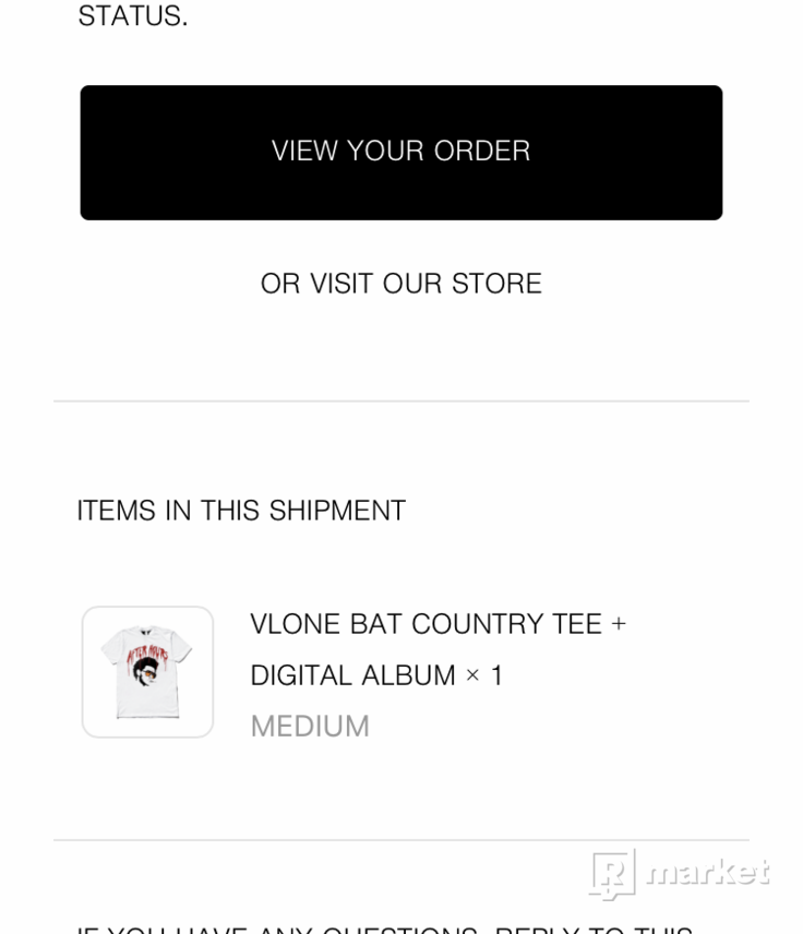 VLONE x THE WEEKND 'bat country tee' *DEADSTOCK*