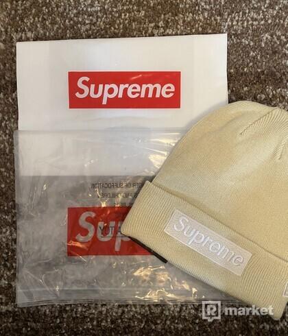 Supreme beanie box logo (cream)