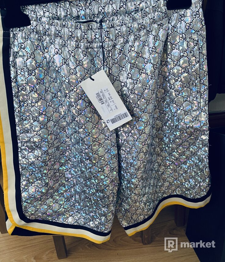 GUCCI Laminated sparkling GG jersey shorts SIZE