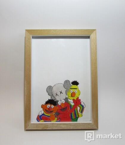 Kaws X Elmo,Bert,Ernie kreslený obraz a4
