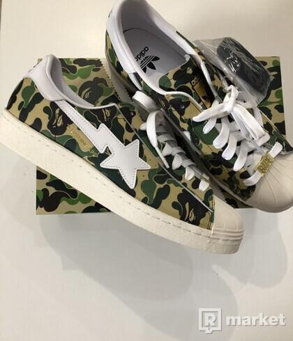 Adidas Superstar X Bape camo green