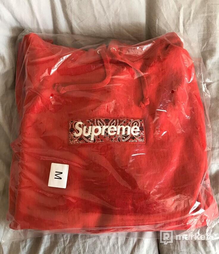 Supreme box logo bandana hoodie red
