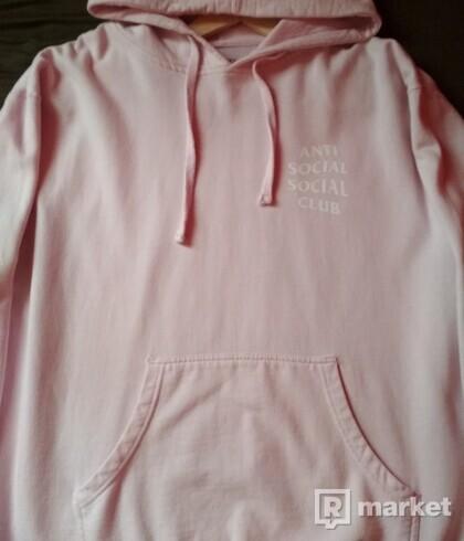 Antisocial social club pink hoodie