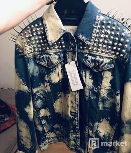 Gucci oversized embellished bleached denim jacket