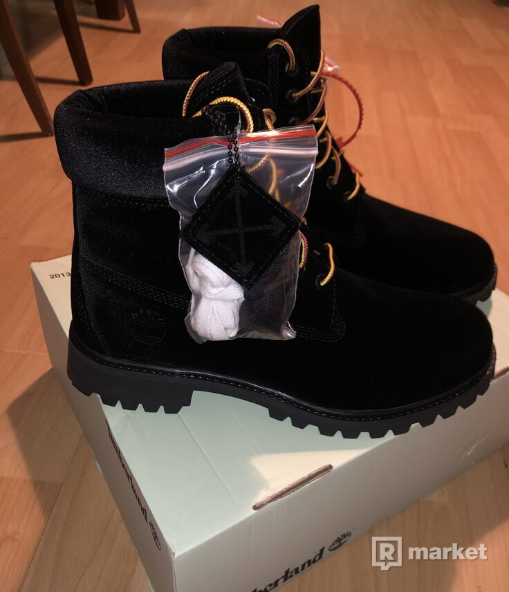 "Timberland X Off-White Black Velvet 6"" Boot"