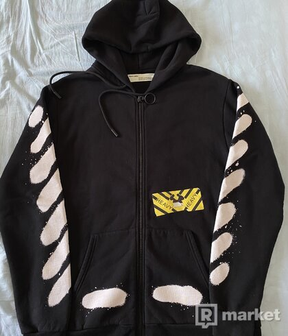 OFF WHITE ZIP UP SPRAY HOODIE