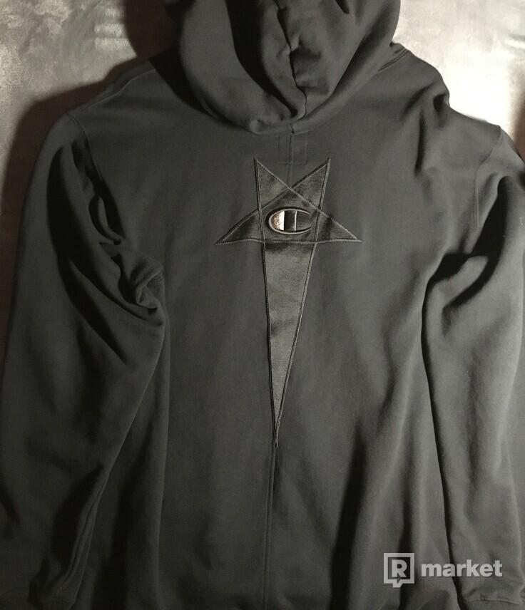 Rick Owens x Champion Pentagram logo-print hoodie