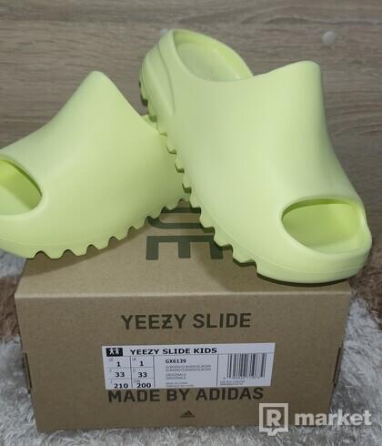 Yeezy slide Kids Glow green / US1/EU33