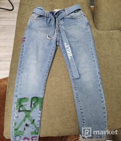 Off-white spray paint logo jeans