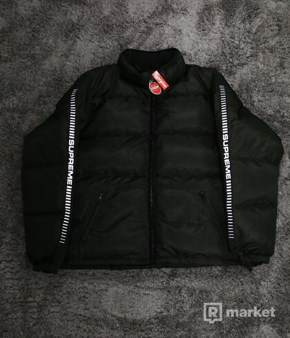 Supreme Reflective Sleeve Puffy Jacket Black