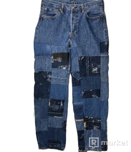 custom Levis 501 patchwork