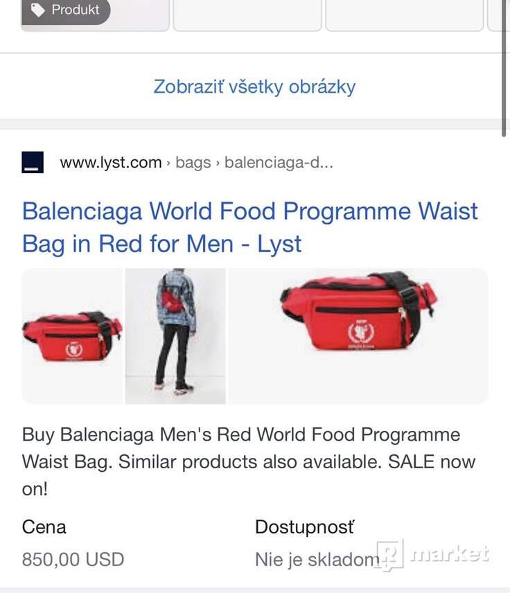 Balenciaga word food programe waist bag